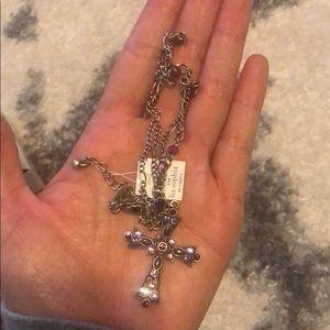 Lia Sophia fashion purple cross necklace